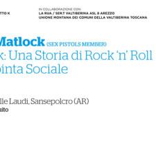 Glen Matlock a Sansepolcro – Il Punk: Una Storia Di Rock 'N' Roll E Di Spinta Sociale