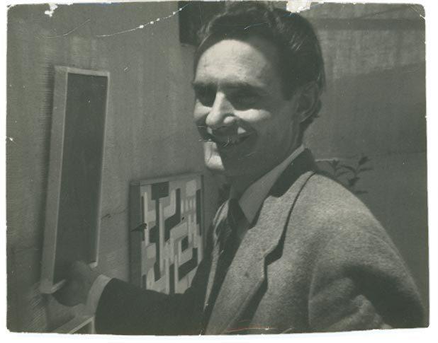 Nuvolo - Giorgio Ascani - in una foto degli anni '50 nello studio di via Margutta