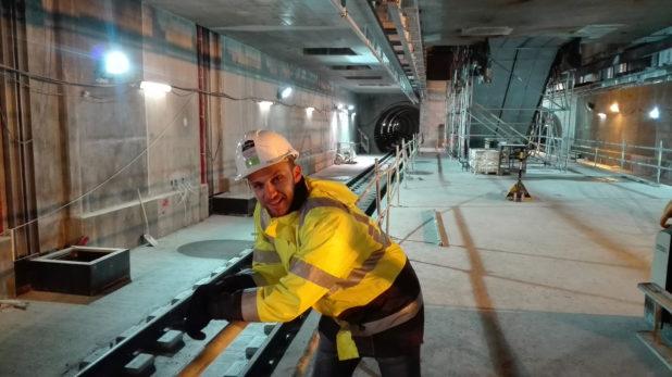 Leonardo Perugini al lavoro nella metropolitana di Copenhagen