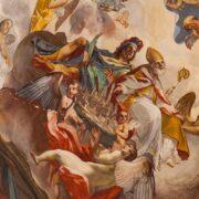 San Florido offre Città di Castello alla S.S.Maria Vergine, particolare degli affreschi del Duomo di Città di Castello